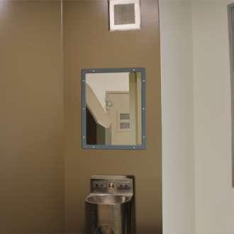 Grey 500x400mm Anti-Ligature Stainless Steel Vanity Mirror